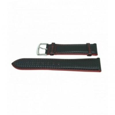 Pasek PACIFIC W22L 18mm czarny, czerwone obszycia