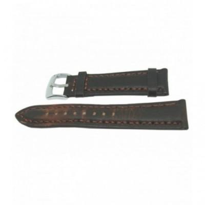 Pasek PACIFIC W24 18mm ciemnobrązowy, brązowe obszycia