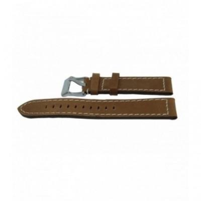 Pasek PACIFIC W25 20mm brązowy, białe obszycia