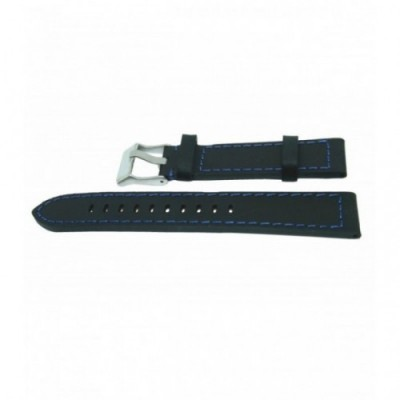 Pasek PACIFIC W25 20mm czarny, niebieskie obszycia