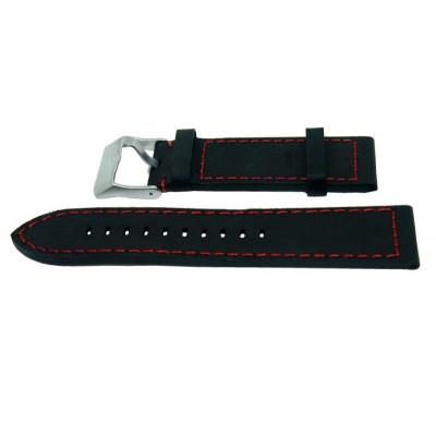 Pasek PACIFIC W25 26mm czarny, czerwone obszycia