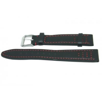 Pasek PACIFIC W28 18mm czarny, czerwone obszycia