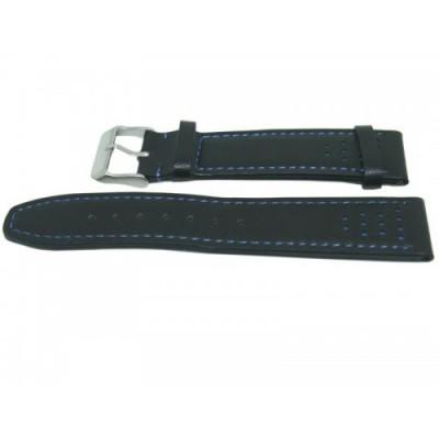 Pasek PACIFIC W28 20mm czarny, niebieskie obszycia