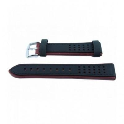 Pasek PACIFIC Premium W80 22mm czarno-bordowy, czarne obszycia