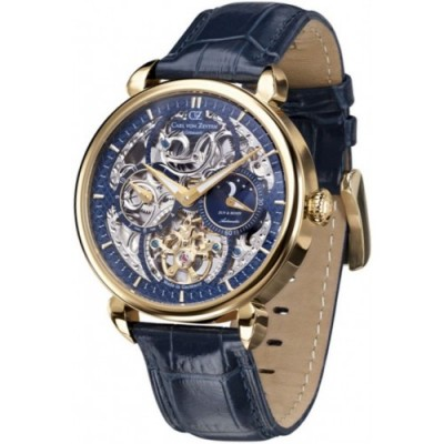 Zegarek CARL VON ZEYTEN CVZ0005GBL Neukirch Automatic Moonphase GMT Skeleton