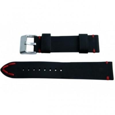 Pasek PACIFIC W93 22mm czarny, czerwone obszycia