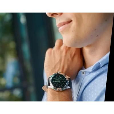 Smartwatch Garett V8 RT srebrno-czarny, skórzany