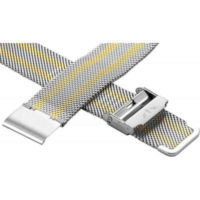 Bransoleta BISSET BM-101 mesh srebrno-złota 18mm