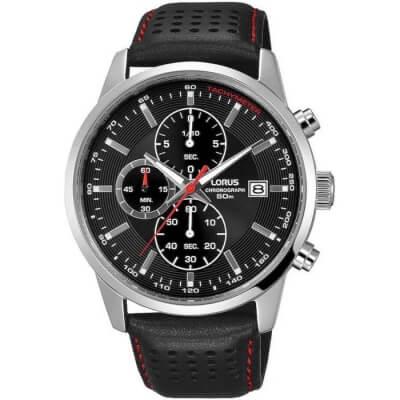 Zegarek męski Lorus na czarnym pasku skórzanym , wyposażony w chronograf